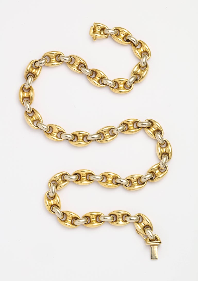 Bulgari Yellow and White Gold Link Necklace In Excellent Condition For Sale In New York, NY