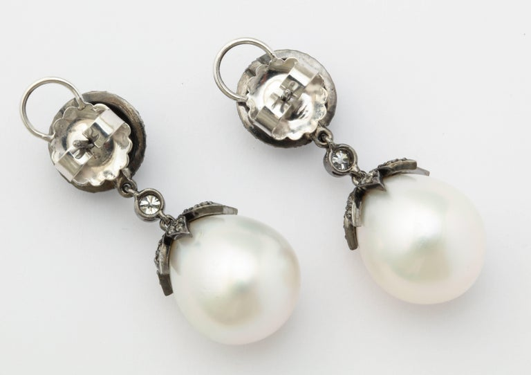 Contemporary 18 Karat Gold South Sea Pearl Drop Earrings with Antiqued Silver and Diamonds For Sale