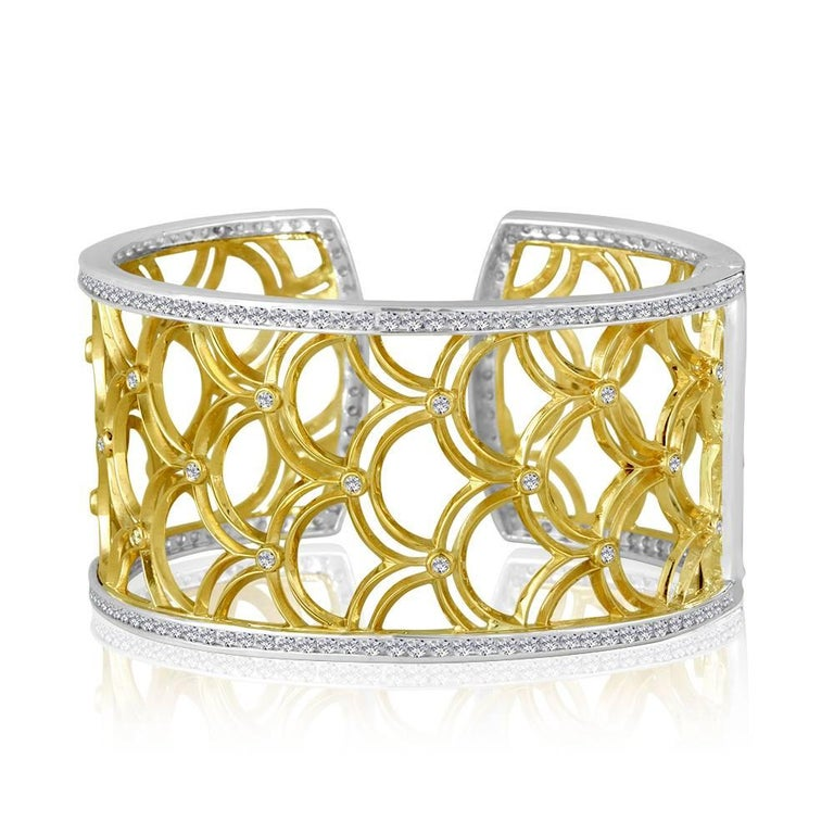 Green Gold Sterling Honeyfan Diamond Cuff Bracelet 2