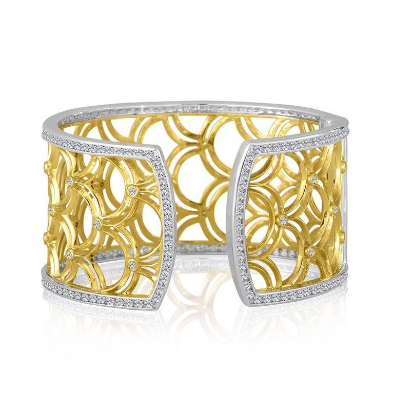 Green Gold Sterling Honeyfan Diamond Cuff Bracelet 3