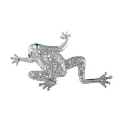 Platinum Frog Brooch with 1 Carat Diamond and .35 Carat of Emerald