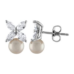 Brand New Tiffany & Co. Victoria Diamond and Pearl Earrings