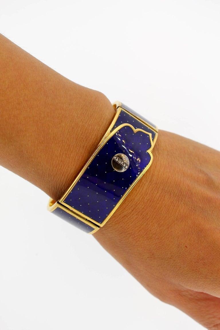 Antique Victorian Blue Guilloché Enamel Gold and Diamond Cuff Bracelet For Sale 1