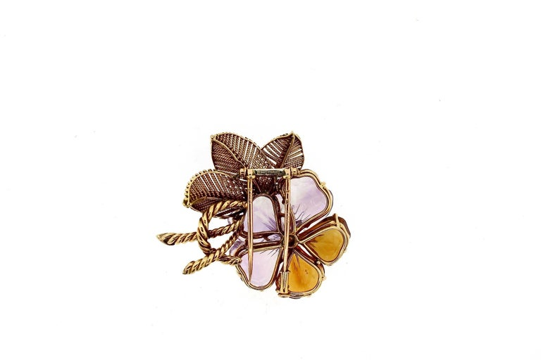 Antique Vintage Boucheron Suite of Amethyst Citrine Flower Jewelry In Excellent Condition For Sale In New York, NY