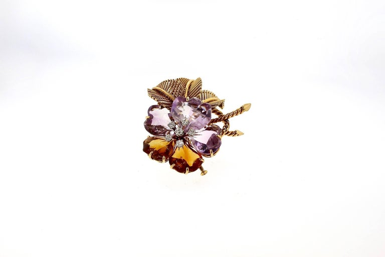 Antique Vintage Boucheron Suite of Amethyst Citrine Flower Jewelry For Sale 1