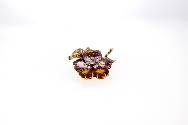 Antique Vintage Boucheron Suite of Amethyst Citrine Flower Jewelry For Sale 2