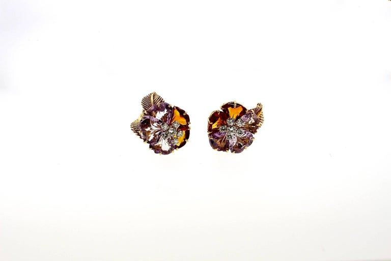 Antique Vintage Boucheron Suite of Amethyst Citrine Flower Jewelry For Sale 3