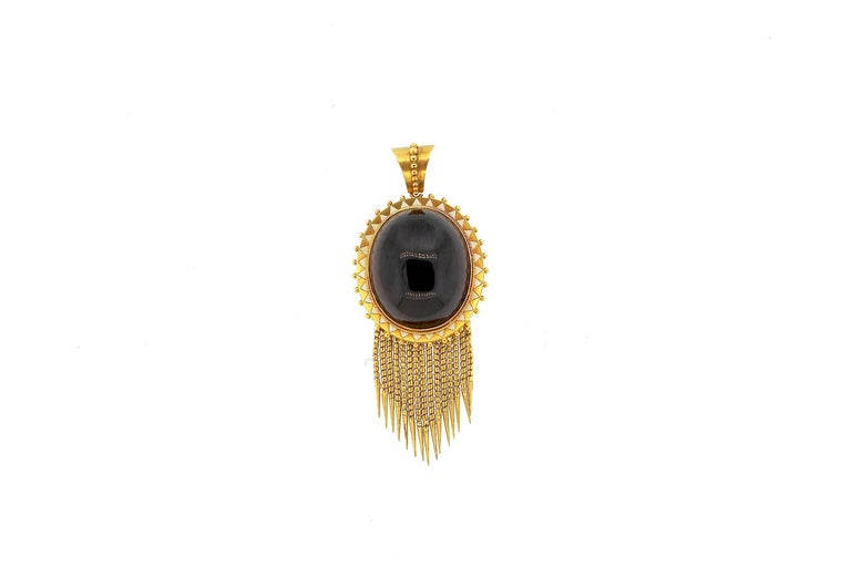 Antique Victorian Cabochon Garnet Enamel Gold Foxtail Fringe Pendant In Excellent Condition For Sale In New York, NY