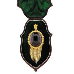Antique Victorian Cabochon Garnet Enamel Gold Foxtail Fringe Pendant