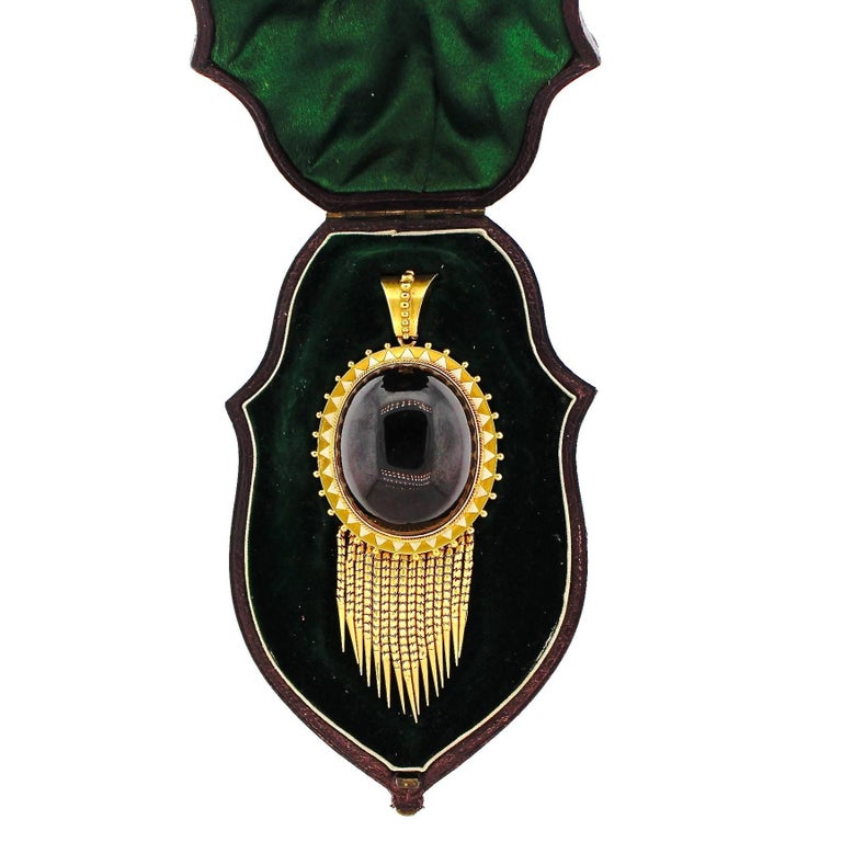 Antique Victorian Cabochon Garnet Enamel Gold Foxtail Fringe Pendant For Sale