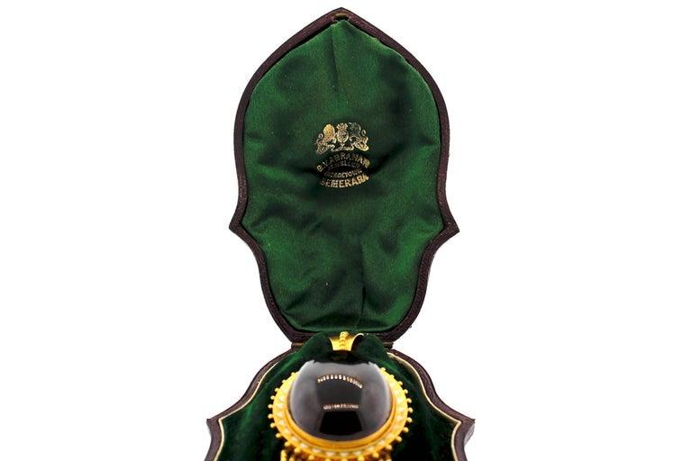 Women's or Men's Antique Victorian Cabochon Garnet Enamel Gold Foxtail Fringe Pendant For Sale