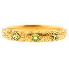 Antique Art Nouveau Engraved 14 Karat Gold Peridot Hollow Form Bangle Bracelet