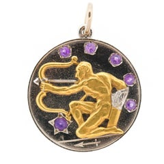 Vintage Cartier Platinum 18 Karat Gold Amethyst Zodiac Sagittarius Pendant