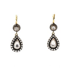 Antique Style Silver Topped Gold Rose Cut Diamond Earrings