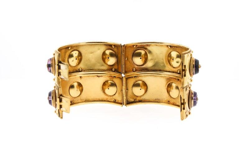 Pair of Victorian Carlo Giuliano 18 Karat Gold Amethyst Diamond Cuff Bracelets For Sale 1