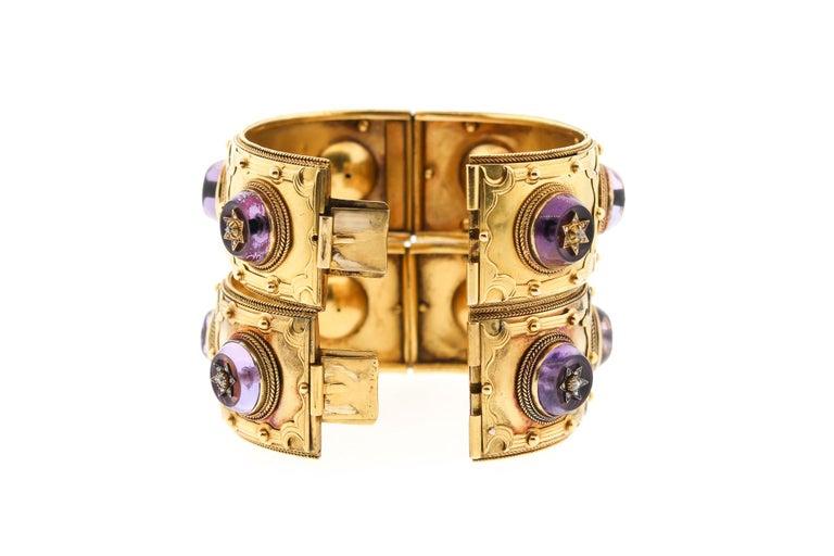 Women's or Men's Pair of Victorian Carlo Giuliano 18 Karat Gold Amethyst Diamond Cuff Bracelets For Sale