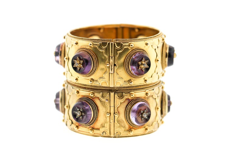 Pair of Victorian Carlo Giuliano 18 Karat Gold Amethyst Diamond Cuff Bracelets In Good Condition For Sale In New York, NY