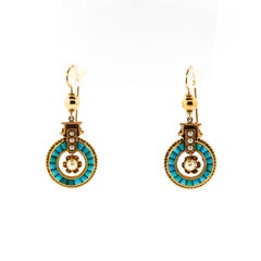 Antique 14 Karat Gold Seed Pearl and Calibre Turquoise Pendant Earrings