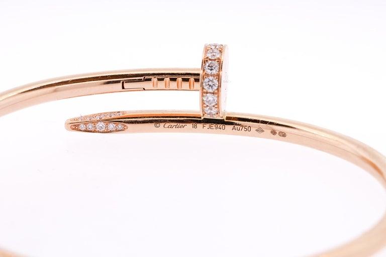 Modern Juste Un Clou Cartier 18 Karat Rose Gold Diamond Nail Bracelet In Good Condition For