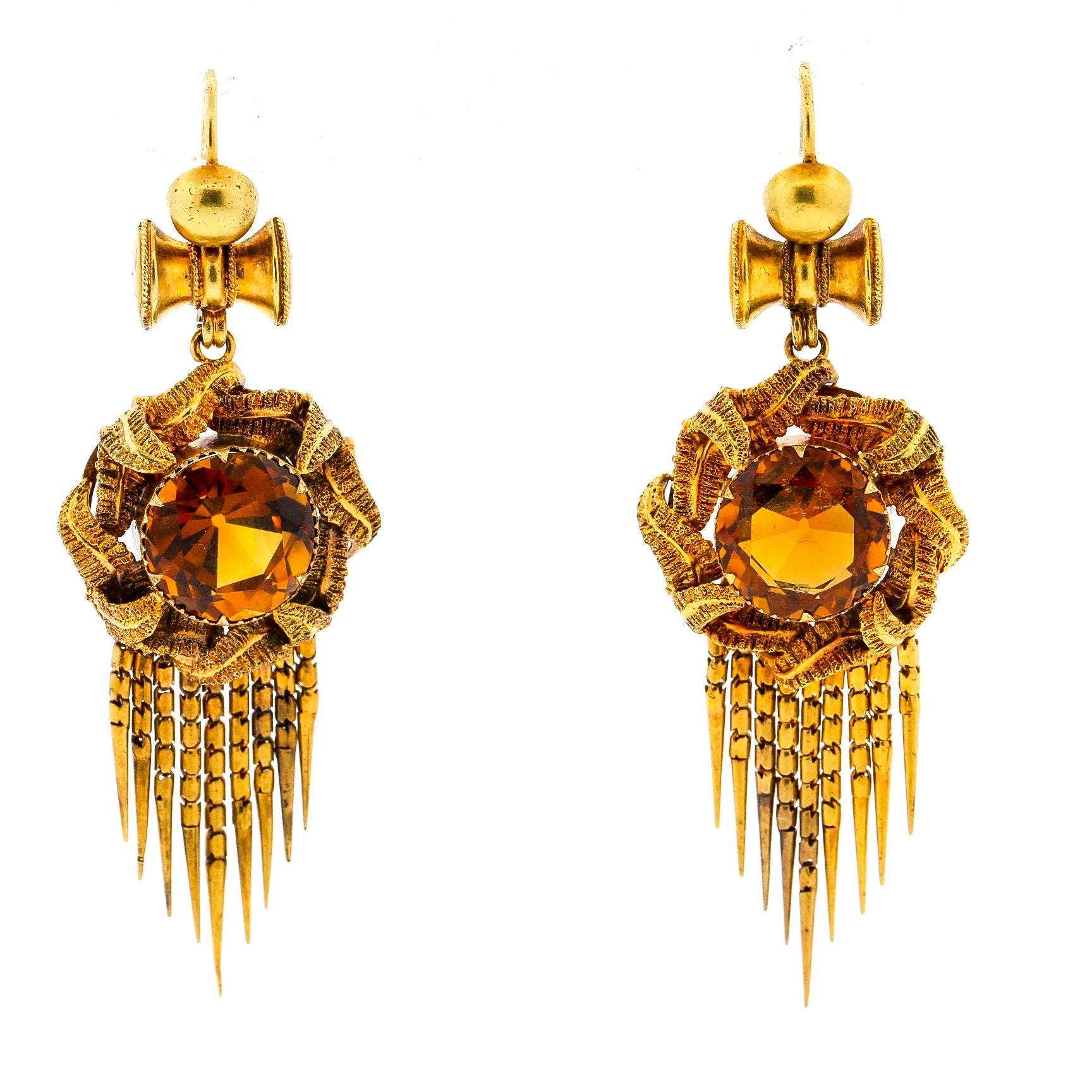 Antique Victorian Round Citrine 14 Karat Gold Fringe Pendant Earrings
