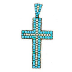 Antique Early Victorian 14 Karat Gold Turquoise Split Pearl Cross Pendant