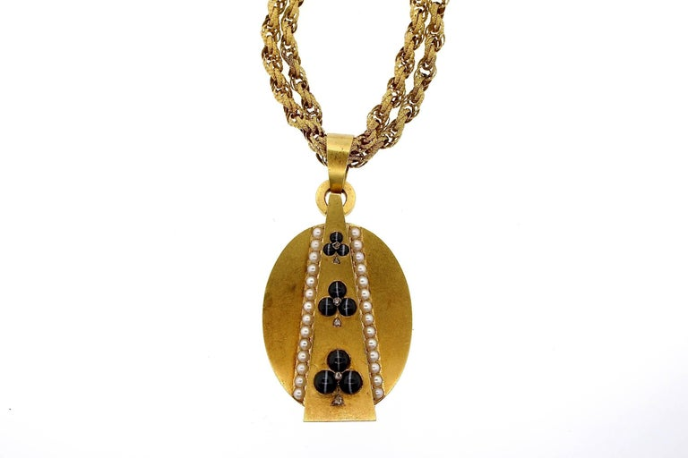 Women's Antique Victorian Gold Agate Pearl Diamond Locket Pendant
