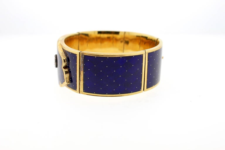 Antique Victorian Blue Guilloché Enamel Gold and Diamond Cuff Bracelet In Good Condition For Sale In New York, NY