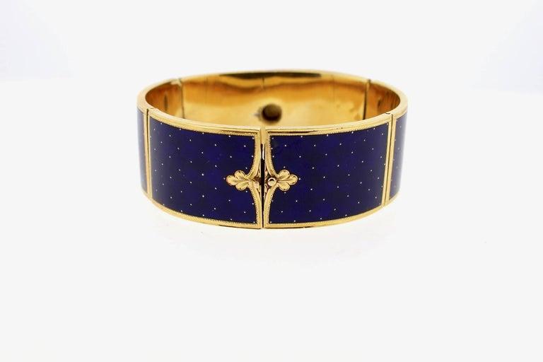 Women's Antique Victorian Blue Guilloché Enamel Gold and Diamond Cuff Bracelet For Sale