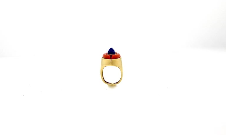 Women's Modernist Gold Lapis and Coral Gold Statement Ring For Sale