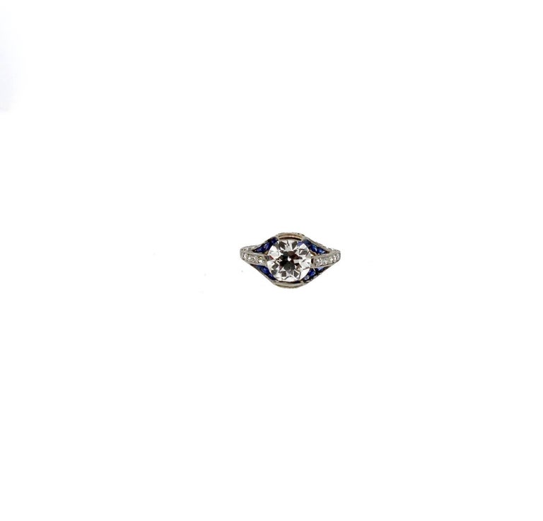 Art Deco Sapphire and GIA Certified I VS2 Old European Cut Diamond Platinum Ring For Sale 5