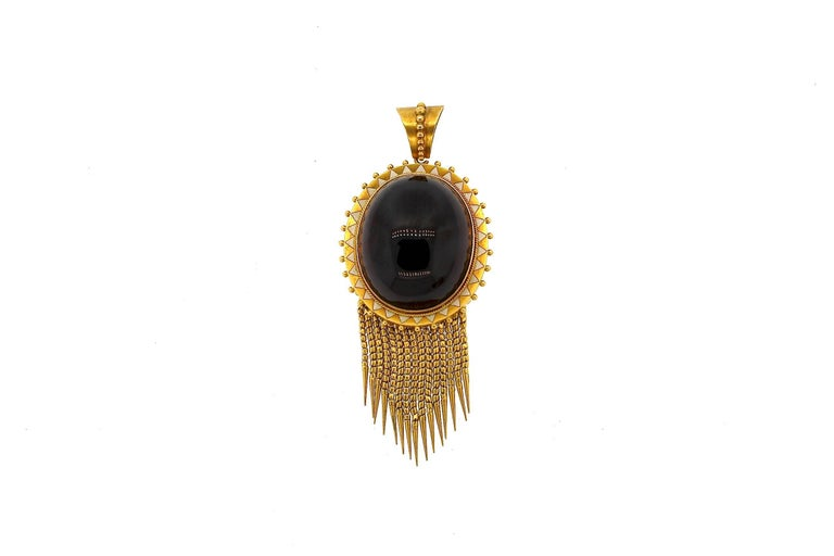 Antique Victorian Cabochon Garnet Enamel Gold Foxtail Fringe Pendant For Sale 2