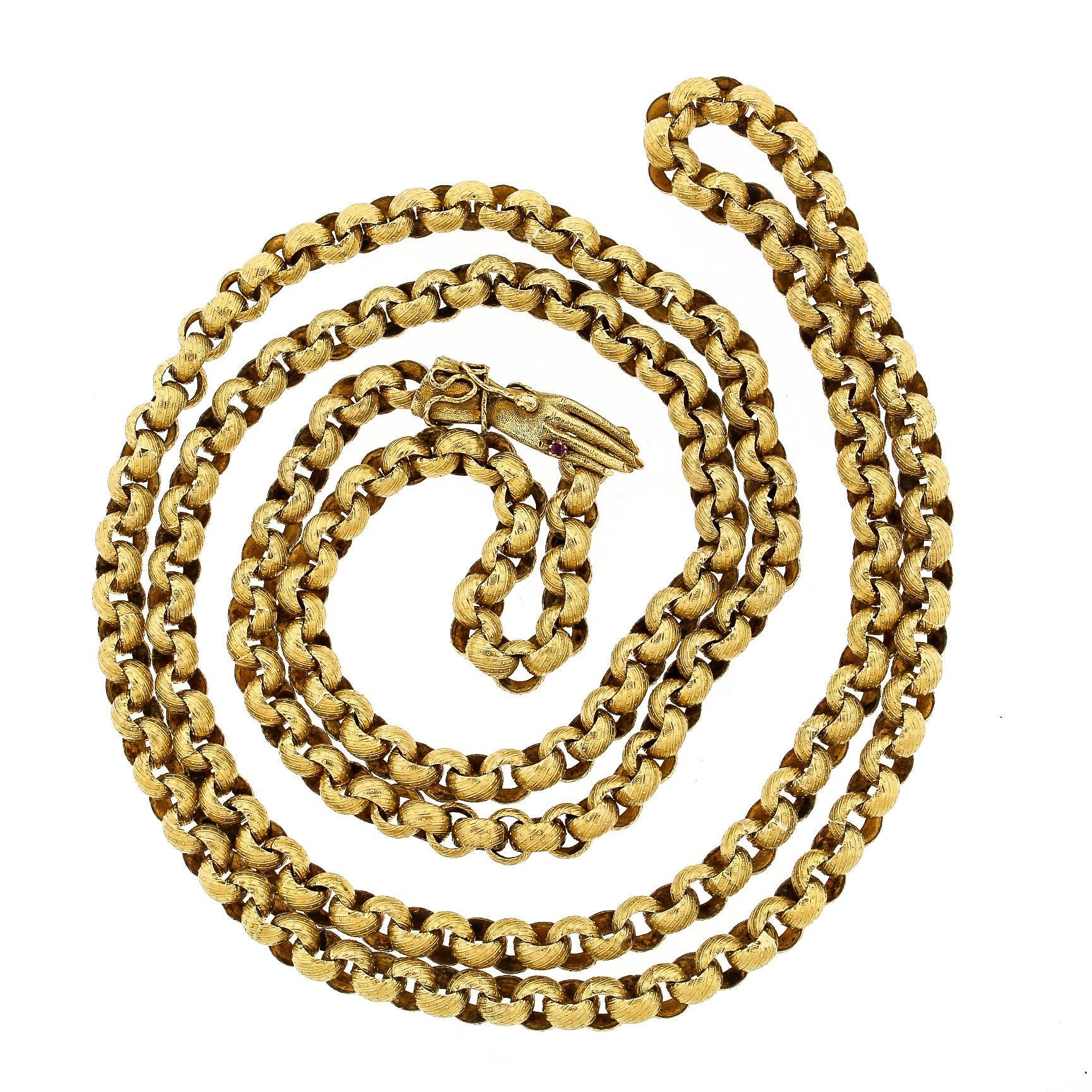 Antique Georgian 14 Karat Gold Long Muff Chain Necklace