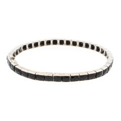Art Deco Platinum French Cut Onyx Line Bracelet