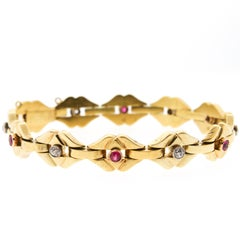 Antique Victorian Russian 14 Karat Gold Ruby Diamond Flat Link Bracelet