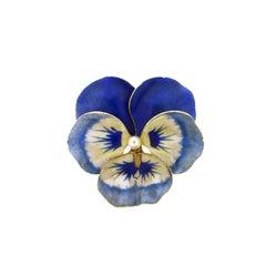 Vintage Art Nouveau 14 Karat Blue Enamel Pearl Pansy Pin