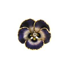 Art Nouveau Purple Enamel Diamond 14 Karat Gold Pansy Pin Pendant