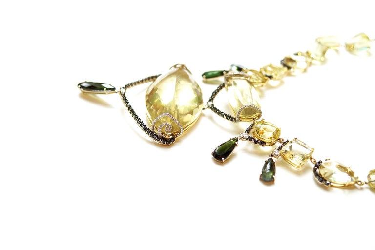 Sharon Khazzam Lemon Quartz, Green Tourmaline and Diamond Melanie Necklace In New Condition For Sale In Great Neck, NY