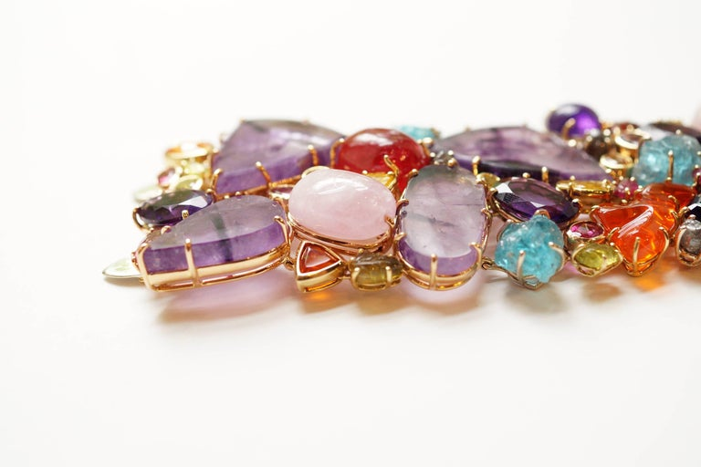 Sharon Khazzam 18 Karat Gold Multicolored Gemstone and Diamond Bracelet In New Condition For Sale In Great Neck, NY