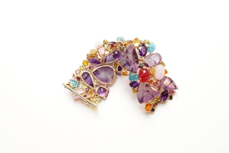 Women's Sharon Khazzam 18 Karat Gold Multicolored Gemstone and Diamond Bracelet For Sale