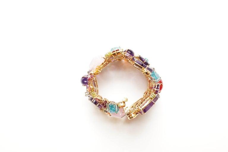 Sharon Khazzam 18 Karat Gold Multicolored Gemstone and Diamond Bracelet For Sale 1