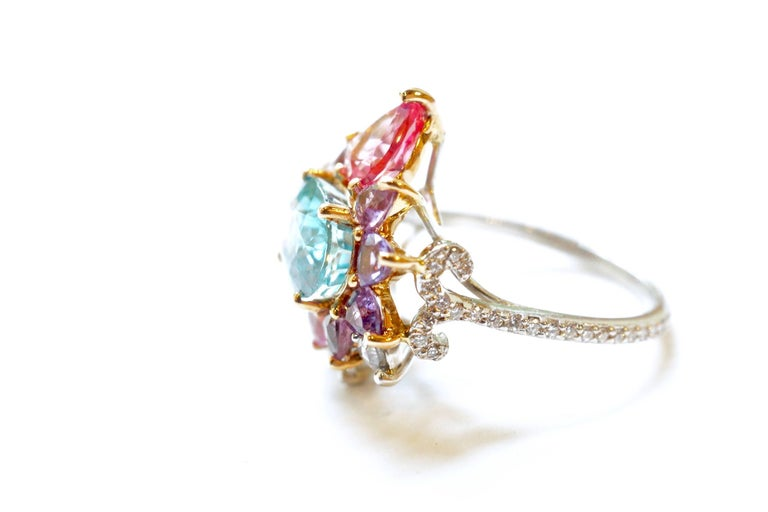 3.84 Carat Blue Zircon, Sapphire, Spinel and Diamond Arnez Ring In New Condition For Sale In Great Neck, NY