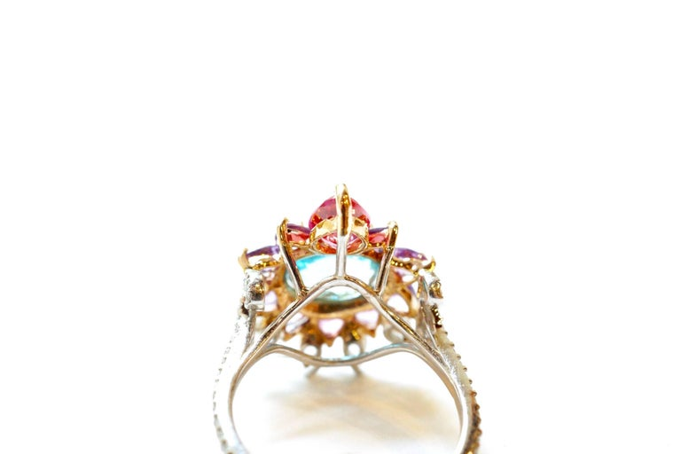 Women's 3.84 Carat Blue Zircon, Sapphire, Spinel and Diamond Arnez Ring For Sale