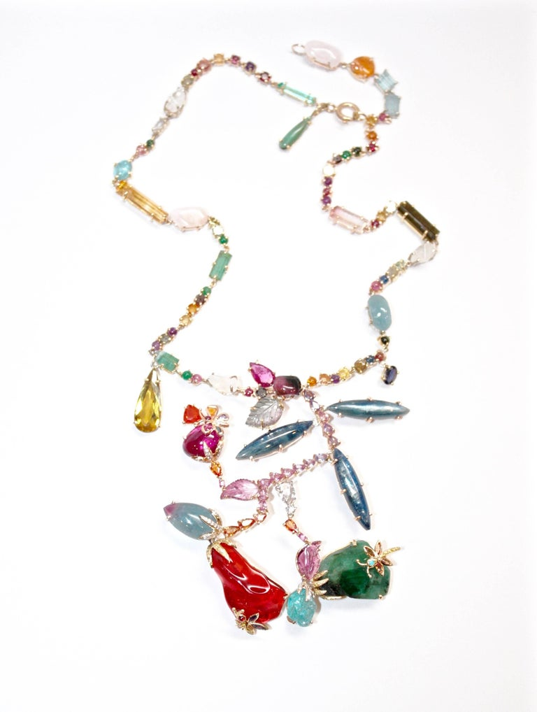 Multicolored Gemstone and Diamond Reeni Corsage Necklace 2