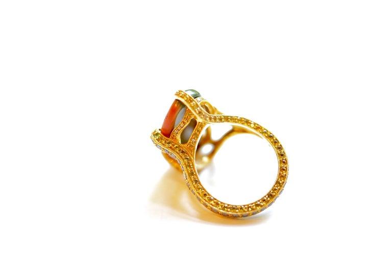 Women's or Men's 18 Karat Yellow Gold Imperial Jasper, Multicolored Gemstones and Diamond Ring For Sale
