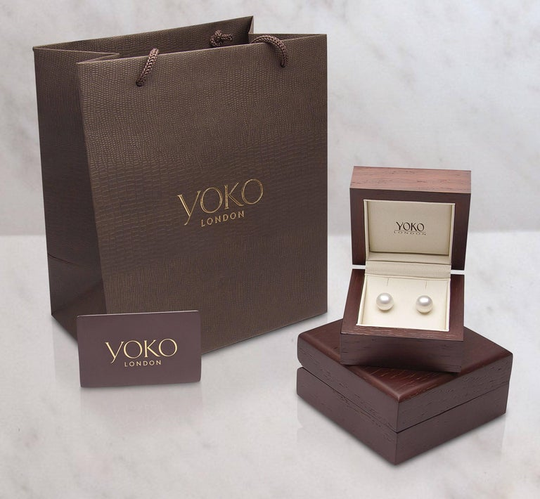 Round Cut Yoko London 9.5mm Golden South Sea Pearl Earring Studs set in 18K Yellow Gold For Sale