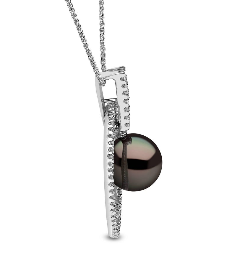 This captivating pendant by Yoko London features a lustrous Tahitian pearl at the forefront of its design. The spectacular lustre of this Tahitian pearl is enhanced magnificently by the 18 Karat White Gold and diamond surround. Designed and