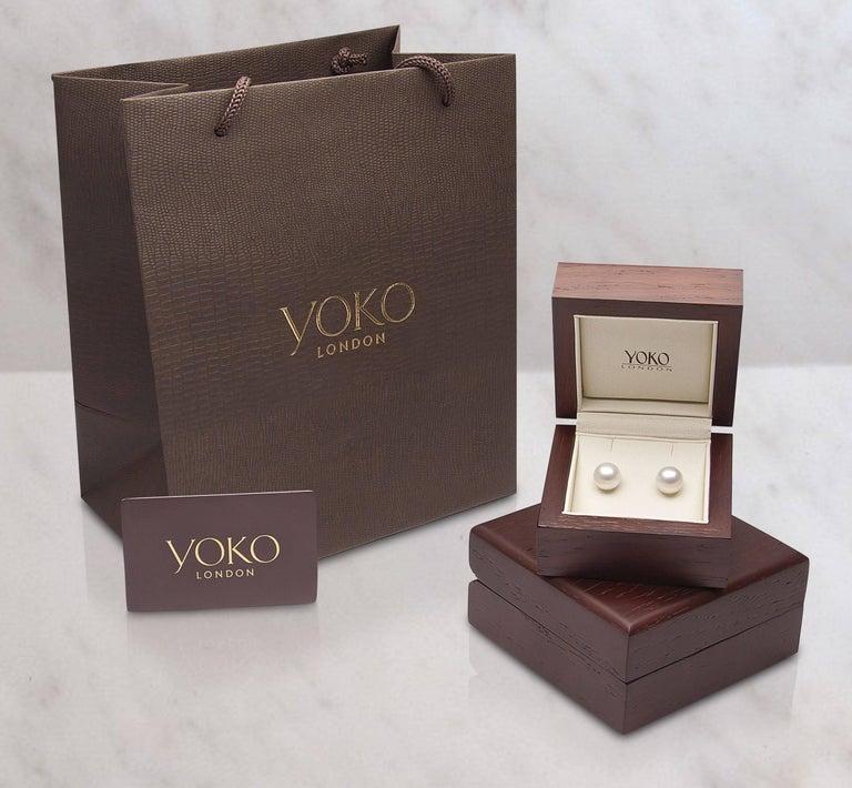 Round Cut Yoko London Akoya Classic Row Necklace on 18 Karat Rose Gold Diamond Set Clasp For Sale