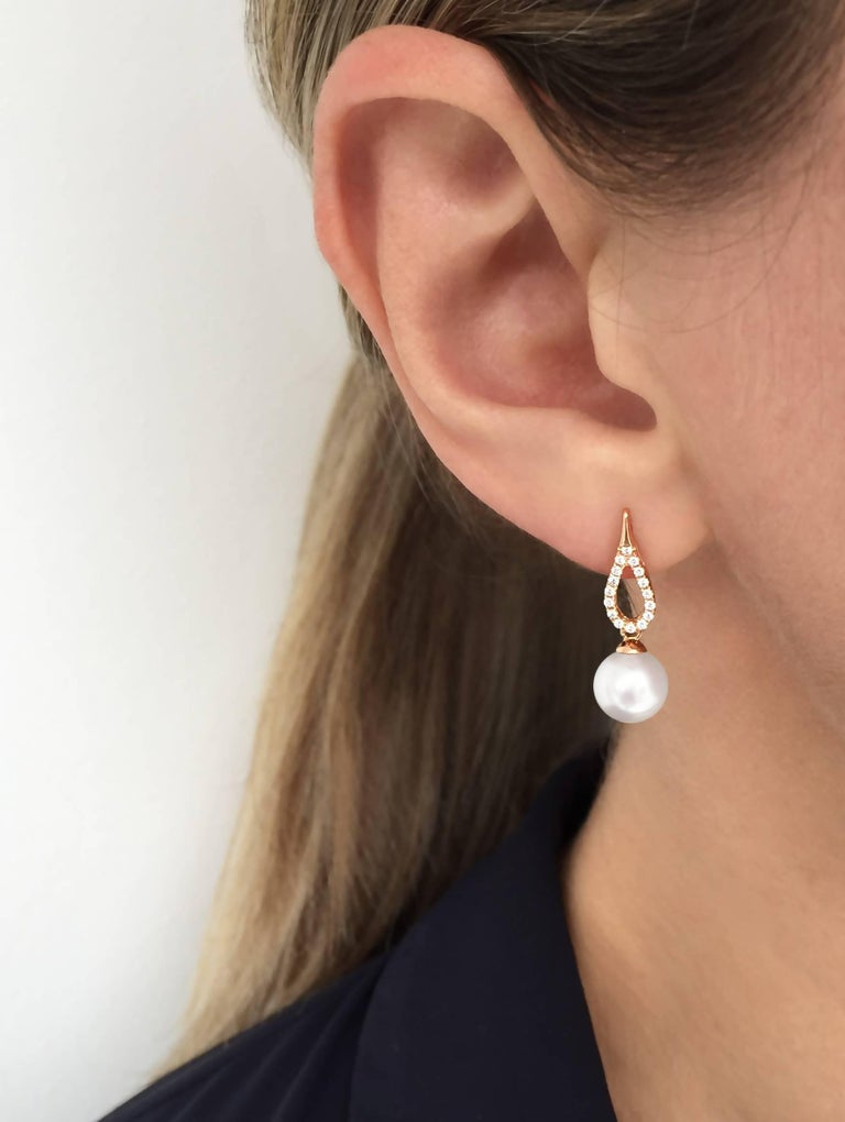 Round Cut Yoko London Akoya Pearl and Diamond Earrings Set in 18 Karat Rose Gold For Sale