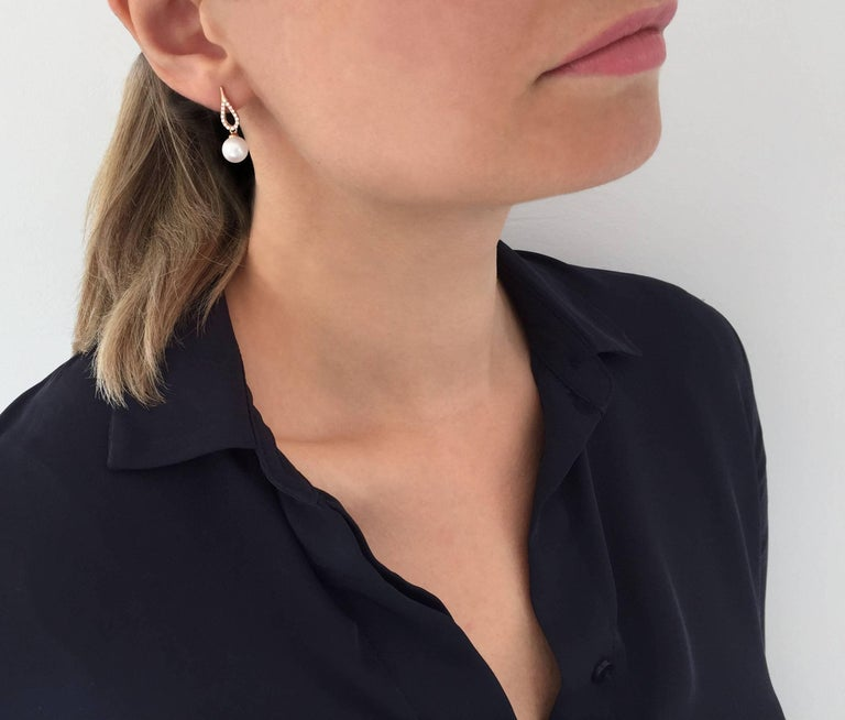 Contemporary Yoko London Akoya Pearl and Diamond Earrings Set in 18 Karat Rose Gold For Sale