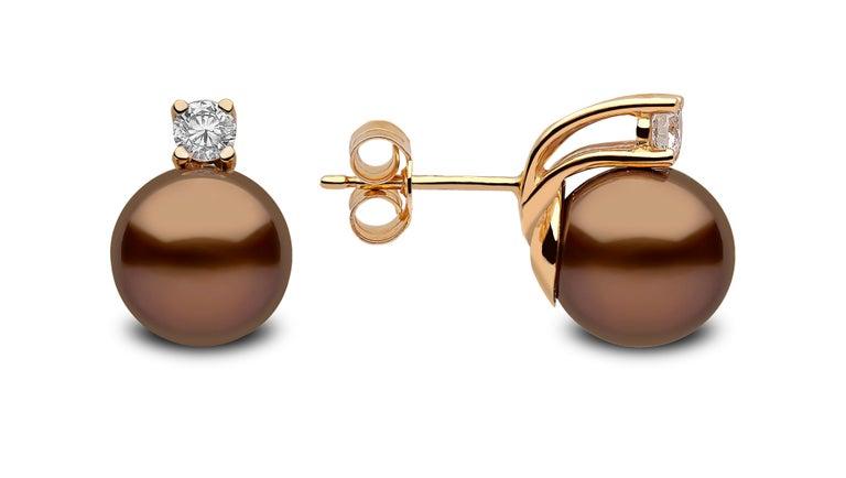 Contemporary Yoko London Chocolate Tahitian Pearl and Diamond Earrings Set in 18 Karat Gold For Sale